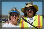 (L-R) JoAnn Carlson, media relations, and official photographer Zane McNary at SCTA - Southern California Timing Association's Land Speed Races at El Mirage Dry Lake