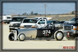 Driver Nathan Stewart of Skip Pipes Racing on his 190.152 mph run at SCTA - Southern California Timing Association's Land Speed Races at El Mirage Dry Lake