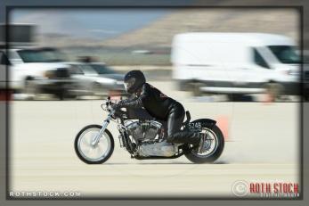 Rider Steve Bilock of Steve Bilock Racing on his 165.392 mph run at SCTA - Southern California Timing Association's Land Speed Races at El Mirage Dry Lake