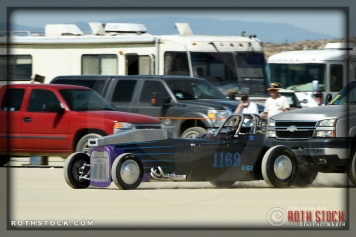 Driver Mike Ferguson of Ferguson & Carr on his 183.729 mph run at SCTA - Southern California Timing Association's Land Speed Races at El Mirage Dry Lake