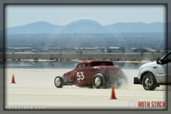 Driver Sam Buck of Creel - Buck - Kendall on his 123.341 mph run at SCTA - Southern California Timing Association's Land Speed Races at El Mirage Dry Lake