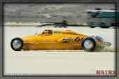 Driver Paul Kelly of Kelly & Hall on his 212.323 mph run at SCTA - Southern California Timing Association's Land Speed Races at El Mirage Dry Lake