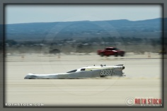 Rider Tim Cunha of Costella / Cunha / Bassano on his 184.273 run at SCTA - Southern California Timing Association's Land Speed Races at El Mirage Dry Lake