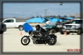 Rider Lou Adams of Route 66 II on his 108.196 mph run at SCTA - Southern California Timing Association's Land Speed Races at El Mirage Dry Lake