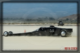 Driver Rob Brissette of Brissette Racing on his 218.545 mph run at SCTA - Southern California Timing Association's Land Speed Races at El Mirage Dry Lake