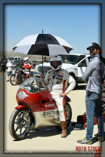Rider Robert Smith of The Baron Rteam prepares for his 119.166 mph run at SCTA - Southern California Timing Association's Land Speed Races at El Mirage Dry Lake