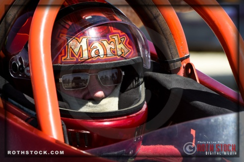 Driver Mark Johnson of Frontuto Bros. prepares for his 225.480 mph run at SCTA - Southern California Timing Association's Land Speed Races at El Mirage Dry Lake