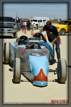 Driver Danny Rue of Leftys Autopower prepares for his 242.152 mph run at SCTA - Southern California Timing Association's Land Speed Races at El Mirage Dry Lake
