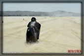 Rider Chris Rivas of Chris Rivas V-Twin on his 228.264 mph run at SCTA - Southern California Timing Association's Land Speed Races at El Mirage Dry Lake