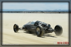 Driver Mike Latus of Lefty's Speed Shop on his 155.476 mph run at SCTA - Southern California Timing Association's Land Speed Races at El Mirage Dry Lake
