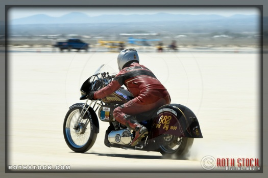 Rider Johnny McClure of McClure Special on his 153.563 mph run at SCTA - Southern California Timing Association's Land Speed Races at El Mirage Dry Lake