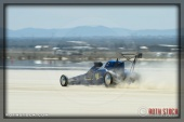 Driver Burl Brown of Texas Justice VII on his 181.765 mph run at SCTA - Southern California Timing Association's Land Speed Races at El Mirage Dry Lake