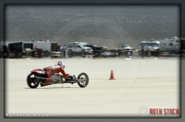 Rider Tim Lewis of Bucket 372 on his 70.438 mph run at SCTA - Southern California Timing Association's Land Speed Races at El Mirage Dry Lake