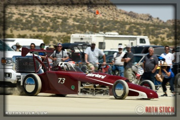 Driver Steve Moody of Mariani Farms on his 241.467 mph run at SCTA - Southern California Timing Association's Land Speed Races at El Mirage Dry Lake