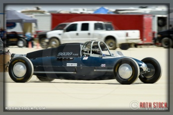 Driver John Neilson of Neilson Racing on his 90.265 mph run at SCTA - Southern California Timing Association's Land Speed Races at El Mirage Dry Lake