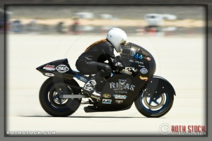Rider Cayla Rivas of Cayla Rivas Racing on her 126.938 mph run at SCTA - Southern California Timing Association's Land Speed Races at El Mirage Dry Lake
