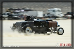 Driver Tim Confal of Noice & Confal on his run at SCTA - Southern California Timing Association's Land Speed Races at El Mirage Dry Lake