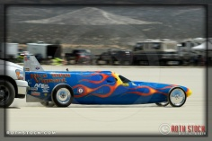 Drver Mark Vigeant of Rice Vigeant Racing on his 168.079 mph run at SCTA - Southern California Timing Association's Land Speed Races at El Mirage Dry Lake