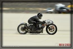 Rider Shinya Kimura of Shinya Kimura Racing on his 123.124 mph run at SCTA - Southern California Timing Association's Land Speed Races at El Mirage Dry Lake
