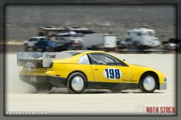 Driver Bill Timmings of Bill Timmings Racing on his 151.044 mph run at SCTA - Southern California Timing Association's Land Speed Races at El Mirage Dry Lake
