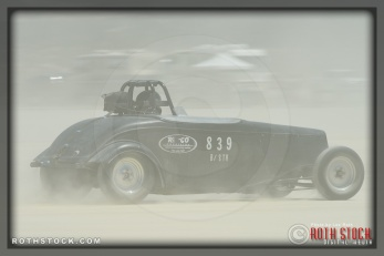 Driver Pat Blevins of Pat Blevins Racing on his 178.883 mph run at SCTA - Southern California Timing Association's Land Speed Races at El Mirage Dry Lake