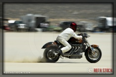 Rider Martin Sechrist of All Hat No Cattle on his 150.117 mph run at SCTA - Southern California Timing Association's Land Speed Races at El Mirage Dry Lake