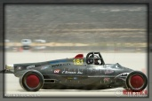 Driver Chris Mursick of The Doris Elliott on his 150.783 mph run at SCTA - Southern California Timing Association's Land Speed Races at El Mirage Dry Lake