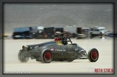 Driver Chris Mursick of The Doris Elliott on his 150.783 mph run at SCTA - Southern California Timing Association's Land Speed Races at El Mirage Dry Lake