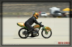 Rider Lance Laverty of Lance Speed Racing on his 101.663 mph run at SCTA - Southern California Timing Association's Land Speed Races at El Mirage Dry Lake