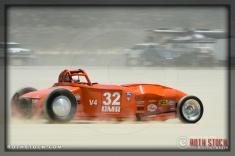 Driver Rey Solis of Harold Johansen did not finish his run at SCTA - Southern California Timing Association's Land Speed Races at El Mirage Dry Lake