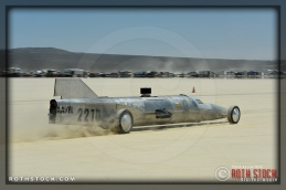 Driver Monty Kontz of Ms LiBerty on his 171.132 mph run at SCTA - Southern California Timing Association's Land Speed Races at El Mirage Dry Lake