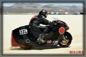 Rider Nick Gomez of Nick Gomez Racing on his 203.464 mph run at SCTA - Southern California Timing Association's Land Speed Races at El Mirage Dry Lake