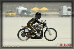 Rider Kristine Peach of Kristine Peach Racing did not finish her run at SCTA - Southern California Timing Association's Land Speed Races at El Mirage Dry Lake