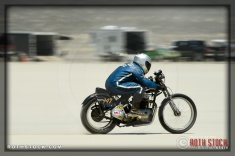 Rider Wes White of Wes White Racing on his 125.240 mph run at SCTA - Southern California Timing Association's Land Speed Races at El Mirage Dry Lake