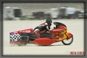 Rider Randy Speranza of Speranza Brant Robinson on his 80.96 mph run at SCTA - Southern California Timing Association's Land Speed Races at El Mirage Dry Lake
