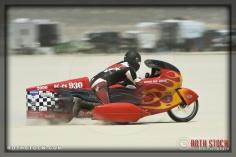 Rider Randy Speranza of Speranza Brant Robinson on his 80.96 mph run at SCTA - Southern California Timing Association's Land Speed Races at El Mirage Dry Lake