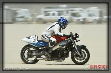 Rider Jim Higgins of Black Art Racing on his 139.253 mph run at SCTA - Southern California Timing Association's Land Speed Races at El Mirage Dry Lake