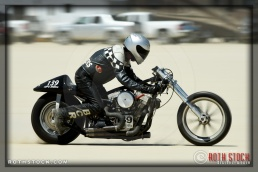 Rider Bill Chambers of Bill Chambers Racing did not finish his run at SCTA - Southern California Timing Association's Land Speed Races at El Mirage Dry Lake