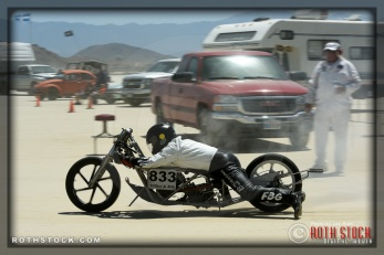 Rider Micheal Schunk of Mike Schunk Racing did not finish his run at SCTA - Southern California Timing Association's Land Speed Races at El Mirage Dry Lake