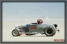 Driver Chick Huntimer of Salt Circus on his run of 130.743 mph at SCTA - Southern California Timing Association's Land Speed Races at El Mirage Dry Lak