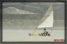 Land sailing near race camp at SCTA - Southern California Timing Association's Land Speed Races at El Mirage Dry Lake
