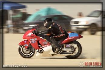 Rider John Noonan of Wossner Pistons Noonan on his 225.325 mph run