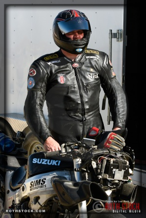 Rider Nick Gee of Running Naked Laughing prepares for his 175.965 mph run