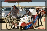 Rider Ralph Hudson of Ralph Hudson Racing prepares for his 238.367 mph run