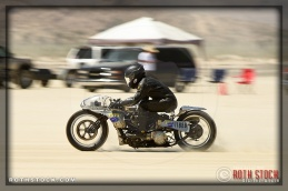 Rider Shinya Kimura of Shinya Kimura Racing on his 100.767 mph run