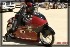 Rider Lee Munro of Munro Scout (great nephew of legendary Burt Munro, celebrating the 50th anniversary of Burt's Bonneville record) on his 161.336 mph run