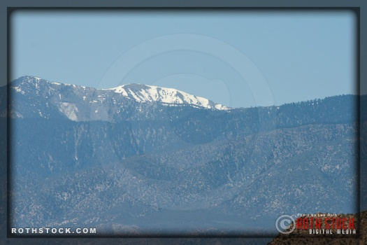Snowcapped Mount San Antonio in the San Gabriel Mountain Range as seen from the race course