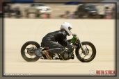 Rider Michael Hanrahanof The Green Fiend on his 90.392 mph run