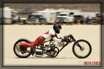 Rider Doug Flaherty of Doug Flaherty Racing on his 69.662 mph run