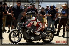 Rider Dan Gervais of Scout II on his 143.304 mph run